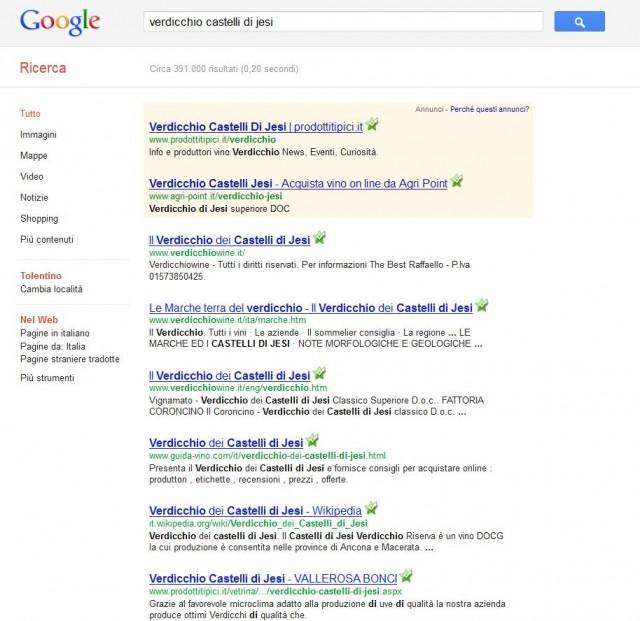 Verdicchio Castelli di Jesi primi su Google